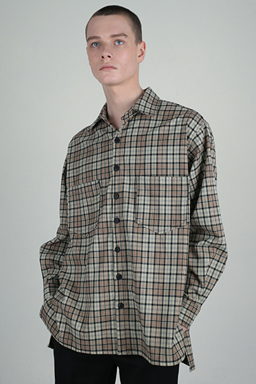 prime neo tartan oversize shirt ivory [sold out]
