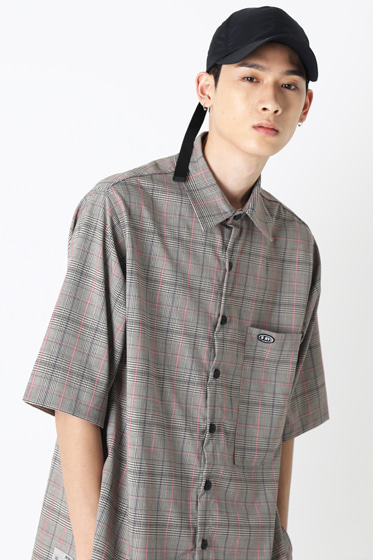indie pink line check half shirt