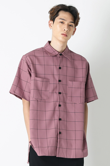 square check over fit half shirt pink