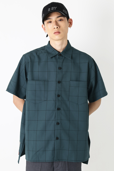 square check over fit half shirt forest