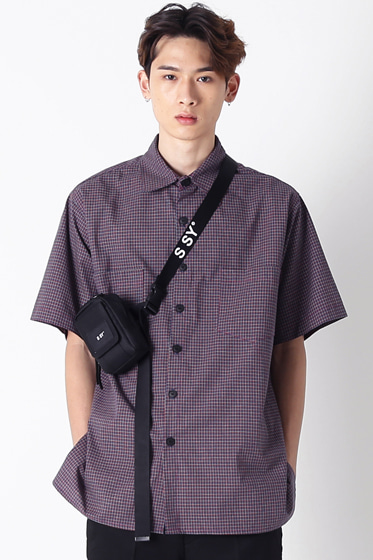 purple gingham over fit half shirt