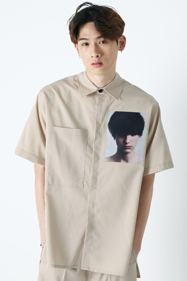 hidden face half shirt ivory