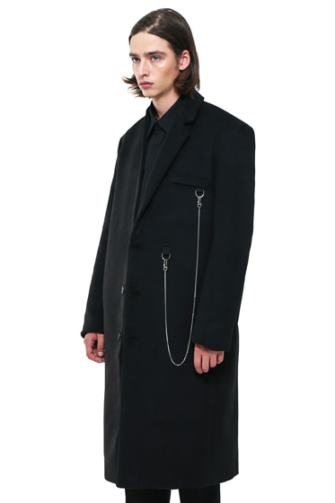 half lapel utility chain long coat black