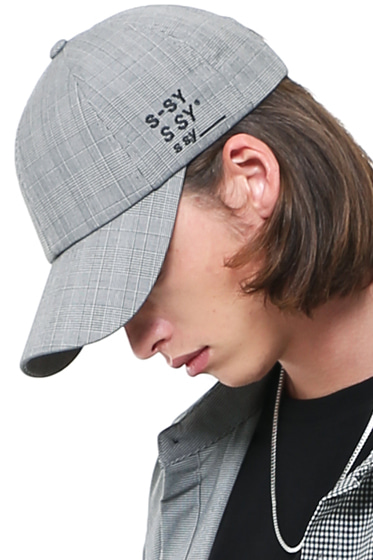 [sold out] premium glen check company 3 logo cap grey