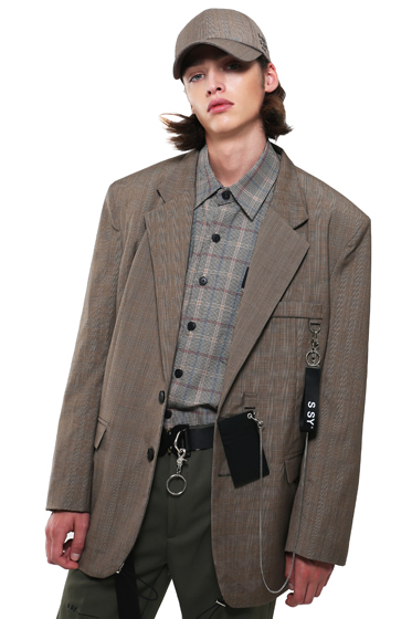 utility chain blazer check brown