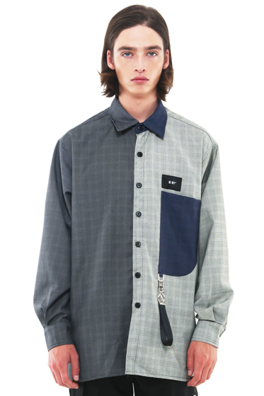 3 color half and half shirt