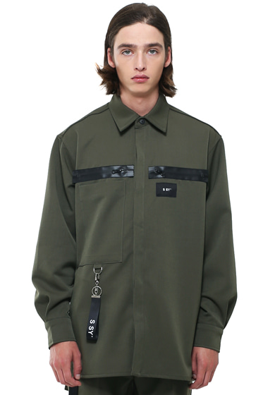 heavy oversize zippered shirt jacket khaki