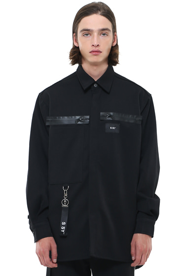 heavy oversize zippered shirt jacket black