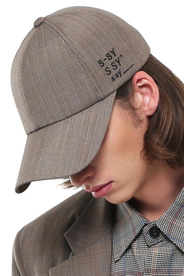 [sold out] premium glen check company 3 logo cap brown