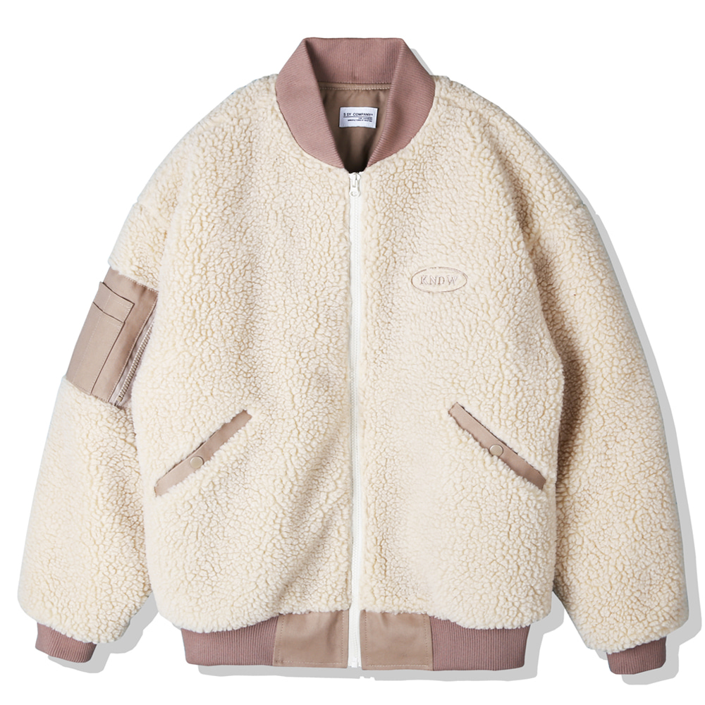 BOA FUR LOOSE FIT MA-1 JACKET BEIGE
