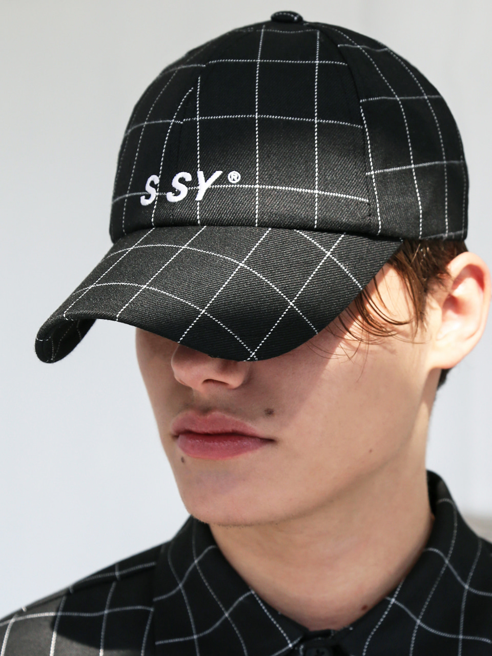 SQUARE CHECK CAP BLACK