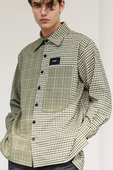 HALF & HALF CHECK SHIRT FOREST WAFFLE