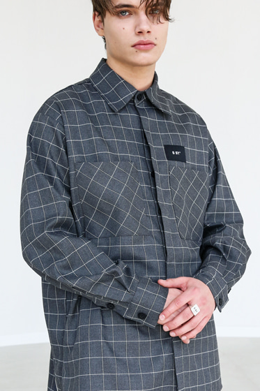 SQUARE CHECK SHIRT GREY