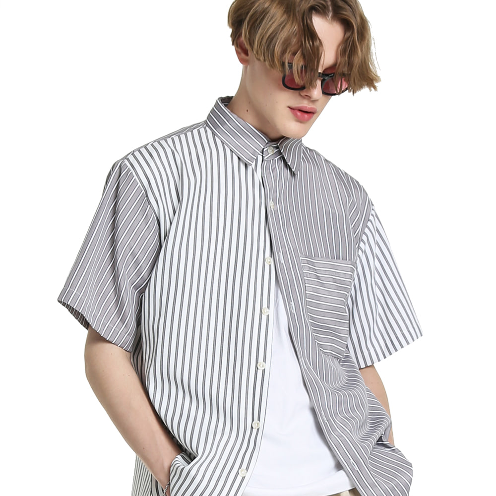 CONTRAST STRIPES COTTON 1/2 SHIRT