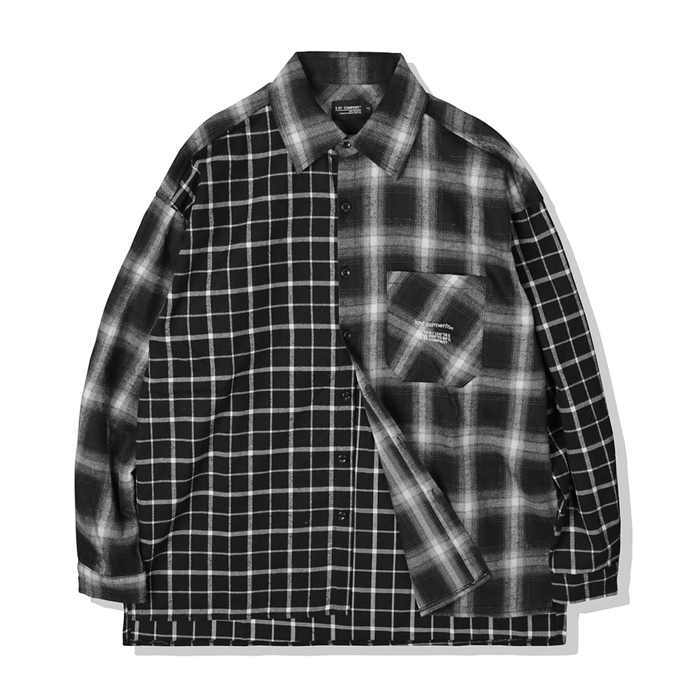 BLACK MIXED CHECK OVERSIZE PLAID SHIRTS