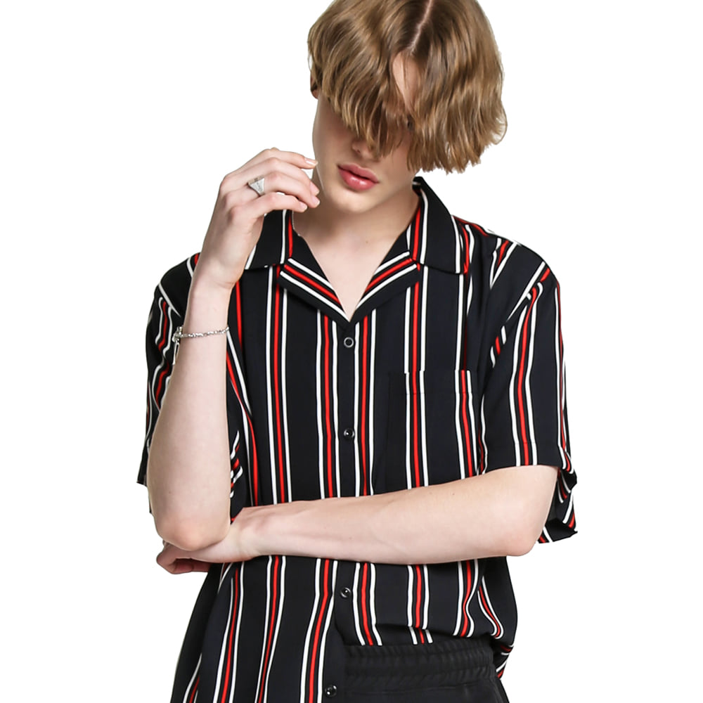 BK STRIPES OPEN COLLAR SHIRT