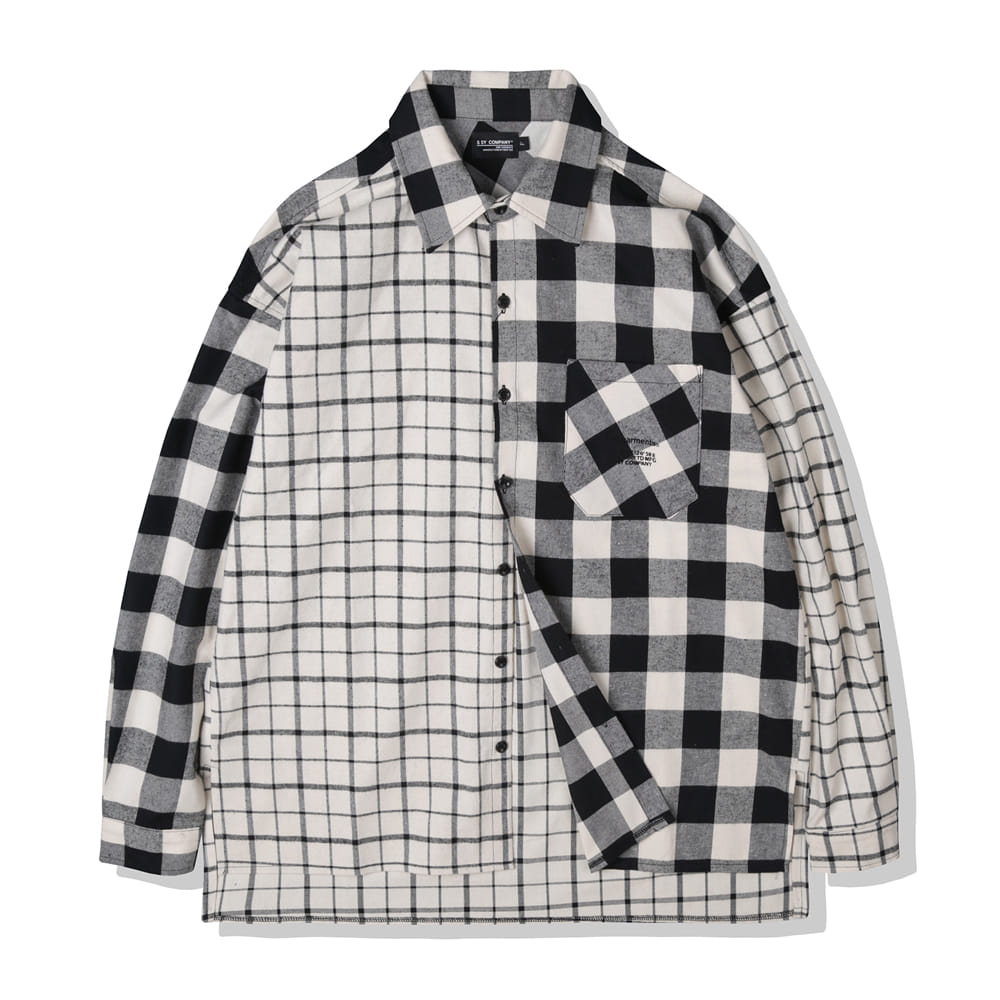IVORY MIXED CHECK OVERSIZE PLAID SHIRTS