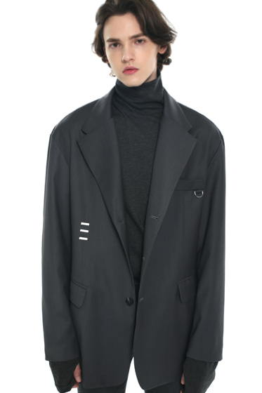 iron tip oversize single blazer charcoal