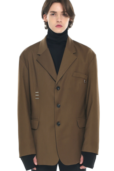 iron tip oversize single blazer brown