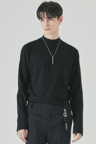 half neck long sleeve black
