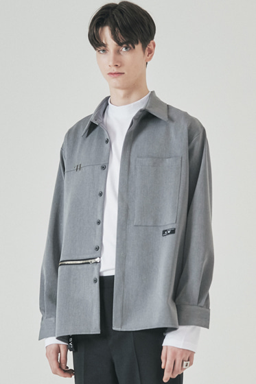 side open zipper shirt grey