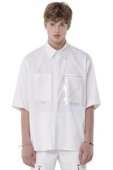 urethane layered pocket half shirt white