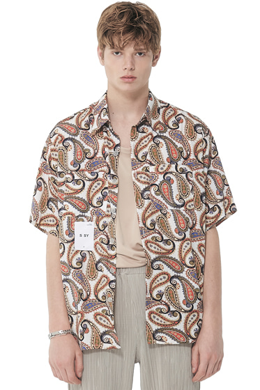hawaiian paisley half shirt white