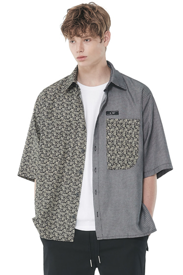1/2 paisley fence half shirt black