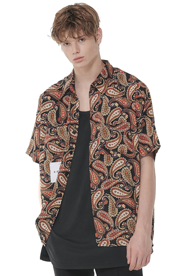 hawaiian paisley half shirt black