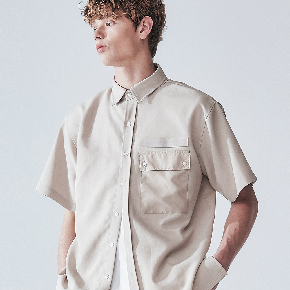 MILITARY BEIGE VELCRO 1/2 SHIRT