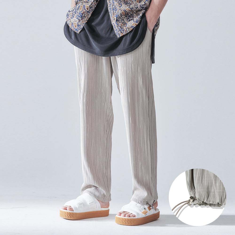 PLEATS 2WAY WIDE PANTS BEIGE
