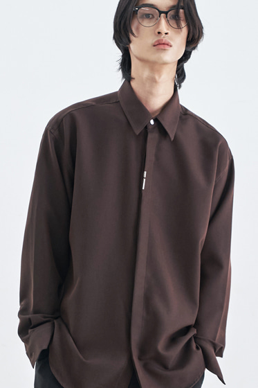 VERTICAL TIP BASIC SHIRT RELAXED FIT BROWN