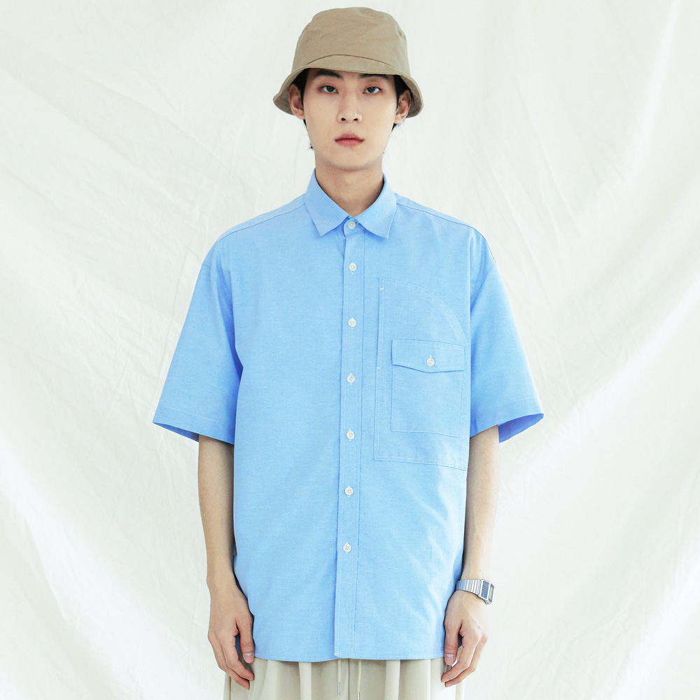 UTILITY CURVED POCKET OXFORD 1/2 SHIRT SKYBLUE
