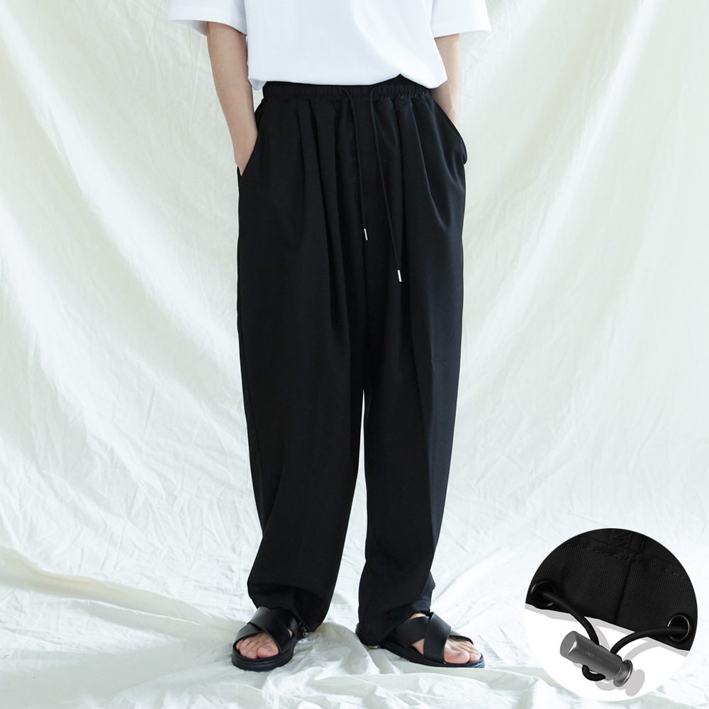PRK 2TUCK BALLOON FIT 2WAY PANTS BLACK