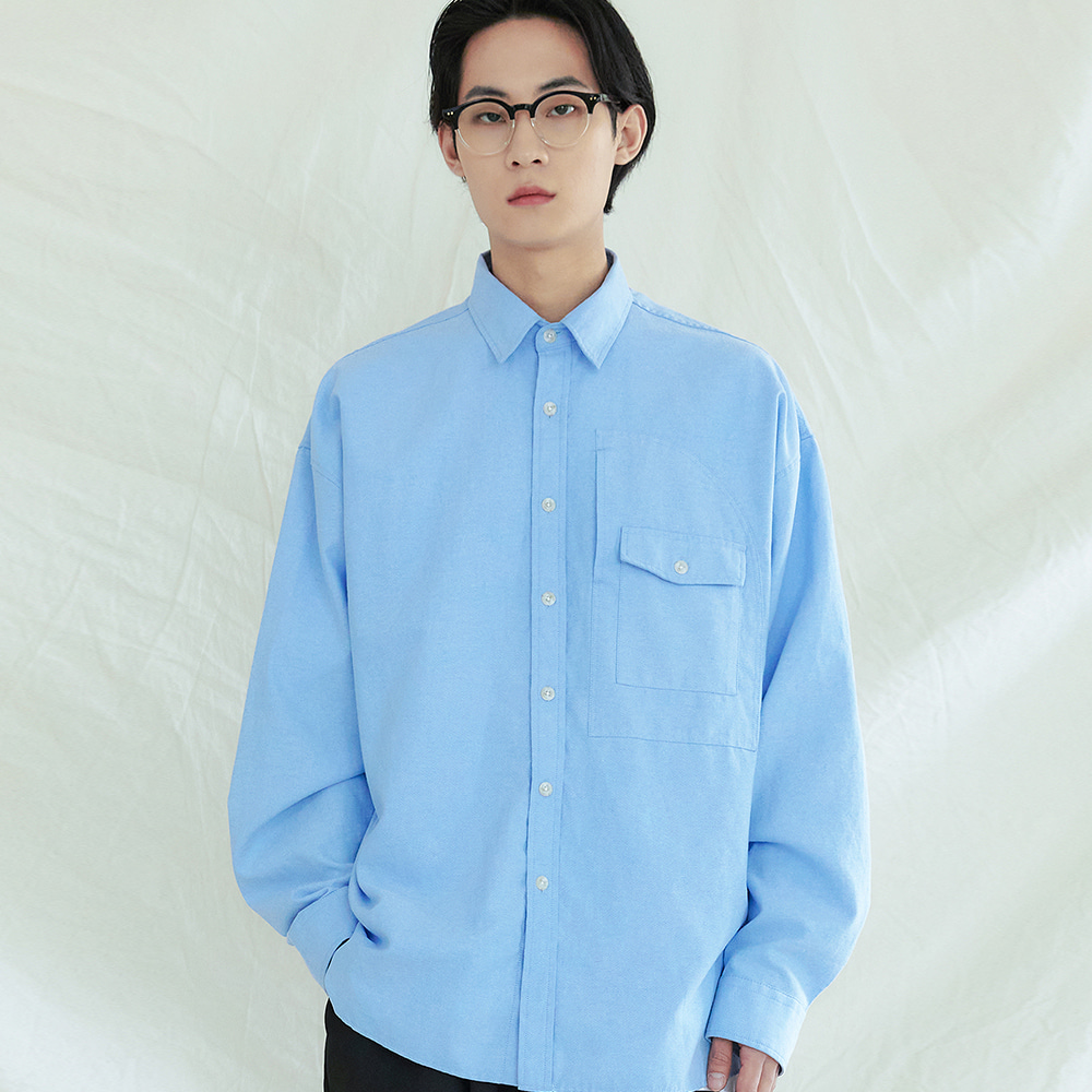 UTILITY CURVED POCKET OXFORD SHIRT SKYBLUE